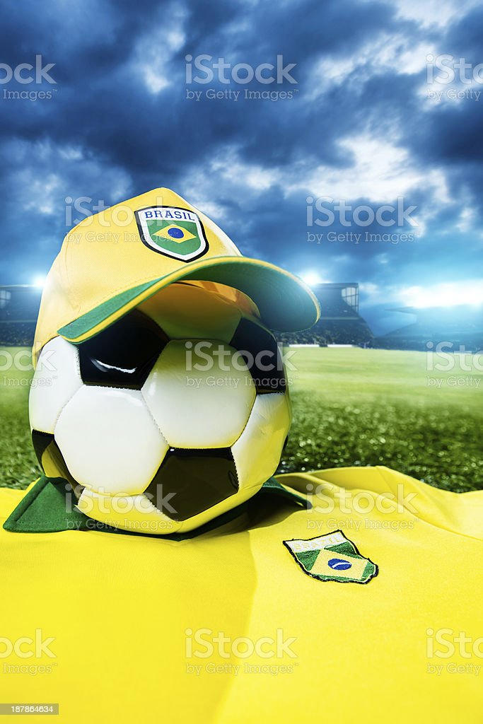 Brazilian soccer concept with a football and shirt royalty-free stock photo