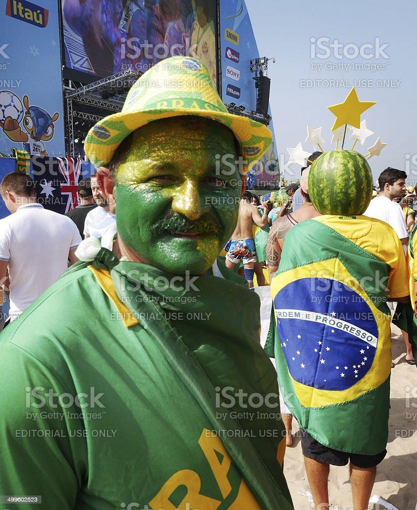 Brazilian soccer fan stock photo