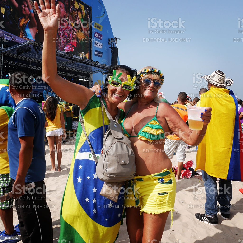 Brazilian soccer fans stock photo