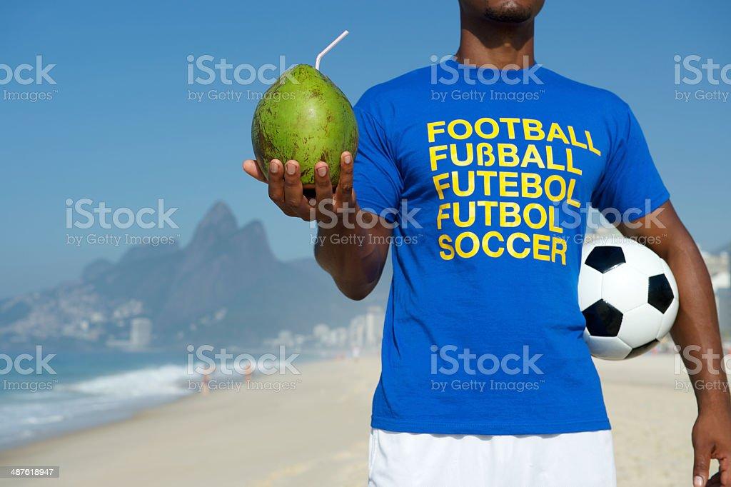 Brazilian Soccer Football Player Drinking Coconut Rio stock photo