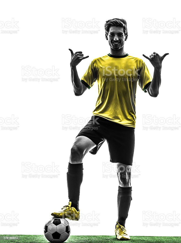 brazilian soccer football player young man saluting  silhouette royalty-free stock photo