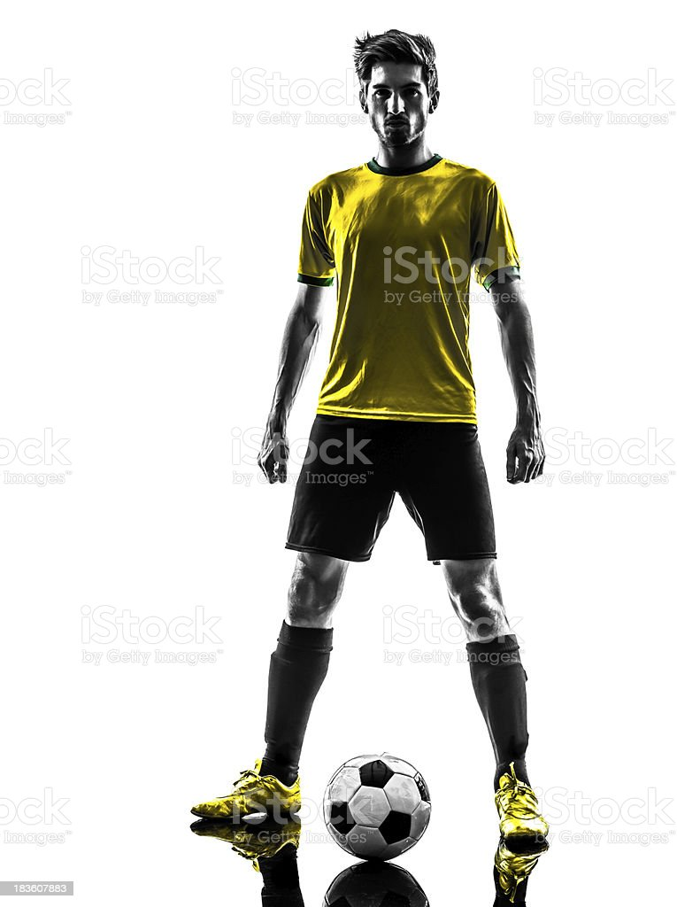 brazilian soccer football player young man standing defiance silhouette stock photo