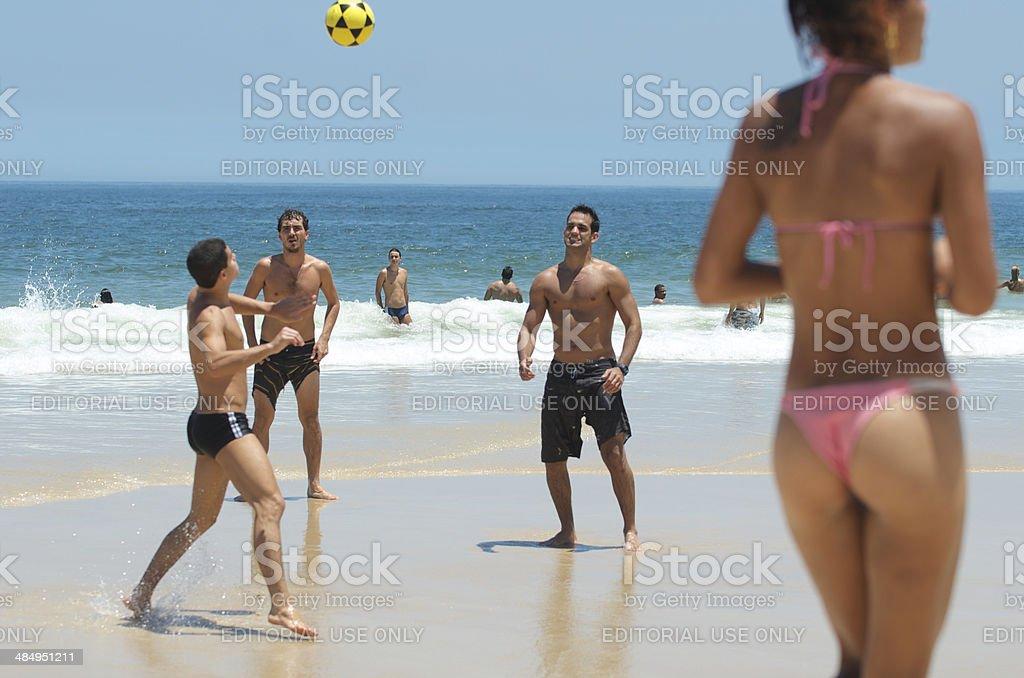 Brazilian Soccer Keep Ups and Bikini Ipanema Beach Rio stock photo