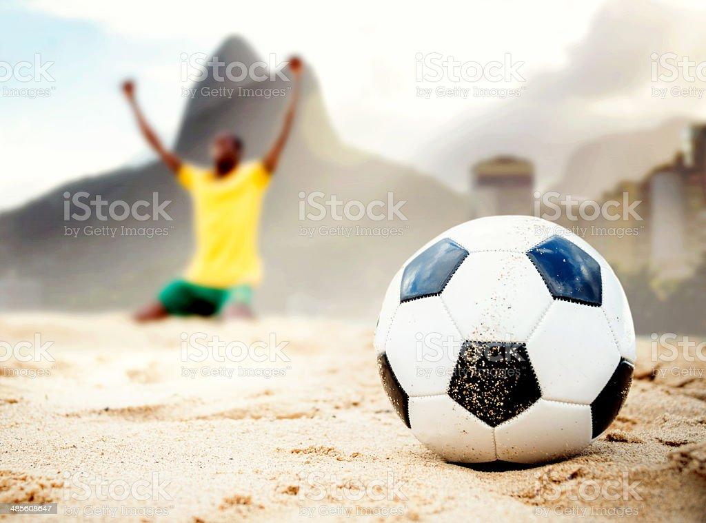 Brazilian soccer player celebrating royalty-free stock photo