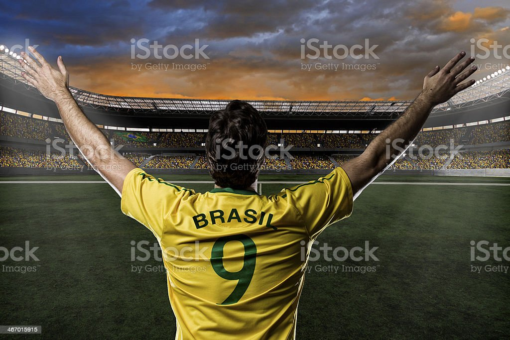 Brazilian soccer player enters the stadium royalty-free stock photo