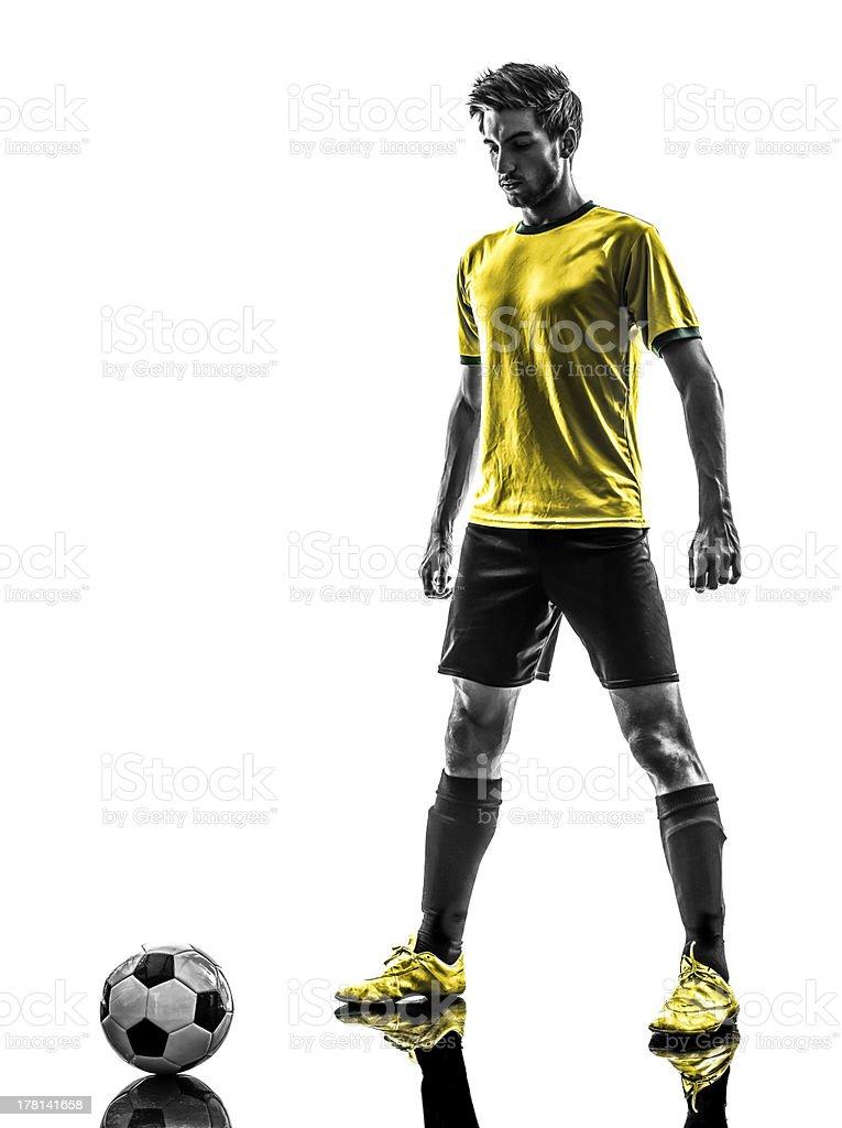 Brazilian soccer player in silhouette stock photo