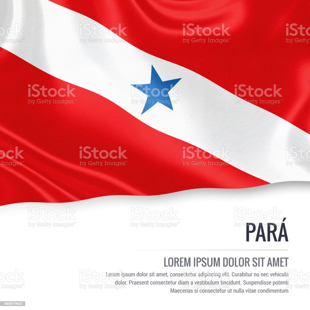 Brazilian state Para flag waving on an isolated white background. State name and the text area for your message. vector art illustration