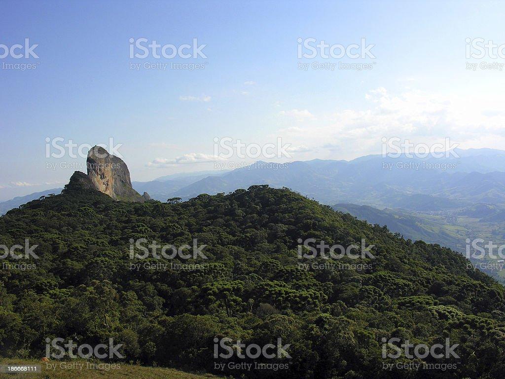 Brazilian stone mountain and forest near CAMPOS DO JORDAO city royalty-free stock photo