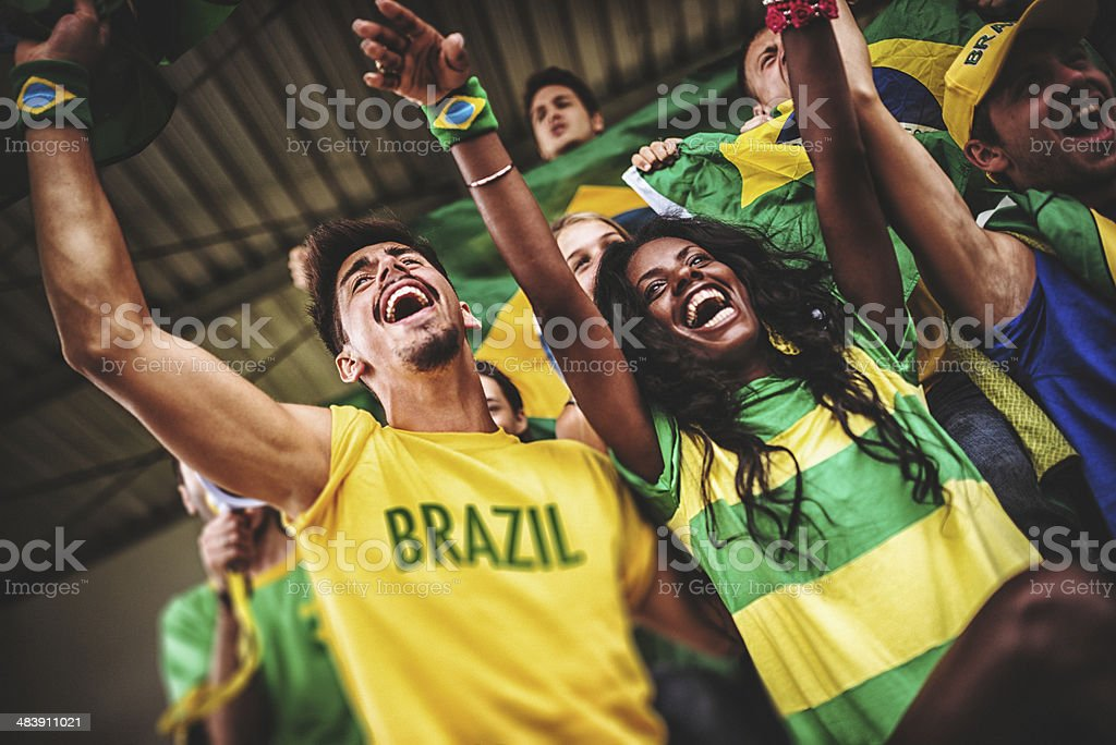 brazilian supporters at stadium stock photo