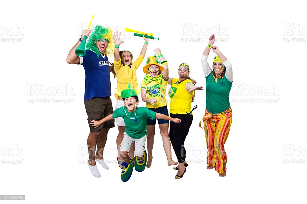 Brazilian supporters celebrating stock photo