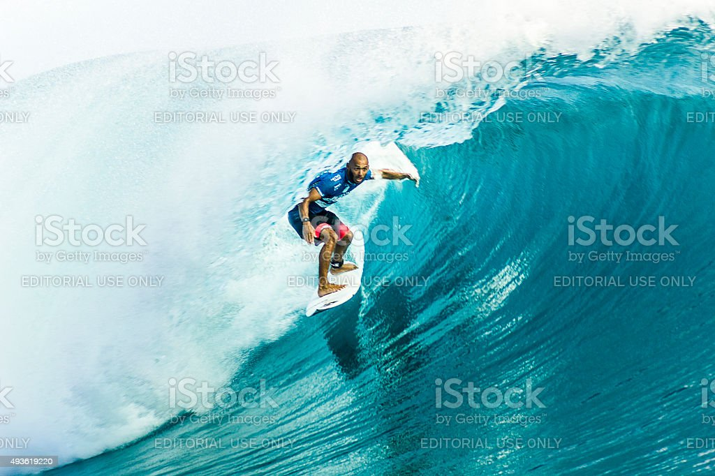 Brazilian Surfer Jadson Andre Surfing 2014 Billabong Pro Tahiti stock photo