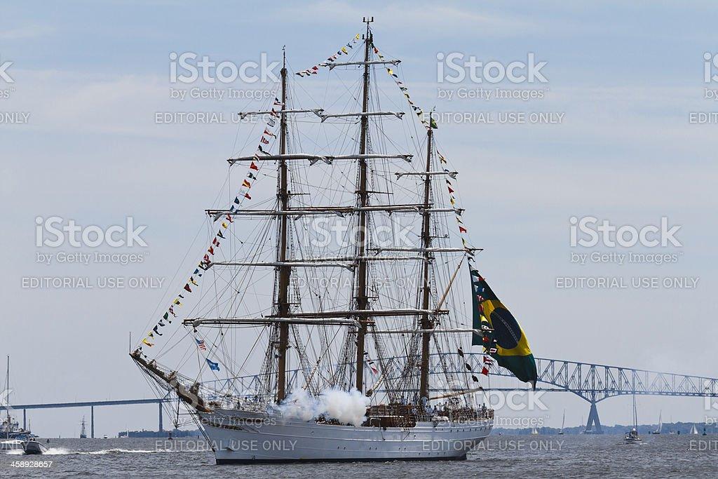 Brazilian Tall Ship Cisne Branco Firing Cannon stock photo