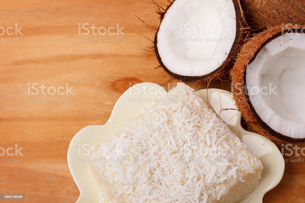 Brazilian traditional dessert: sweet couscous (tapioca) pudding stock photo