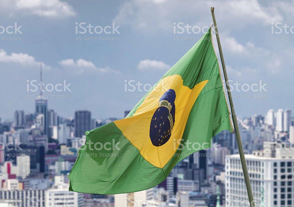Brazilian waving flag in Sao Paulo, Brazil stock photo