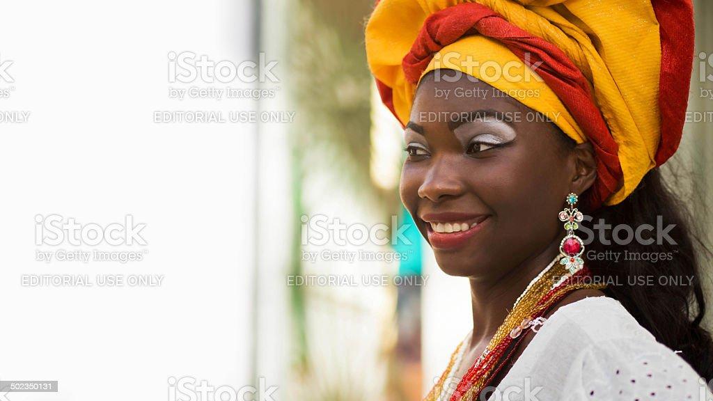 Brazilian Woman Dressed in Traditional Attire stock photo