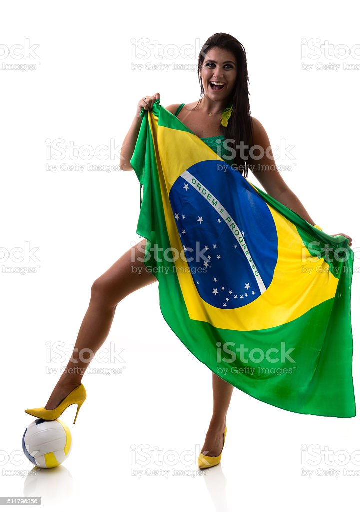 Brazilian woman holding the flag of Brazil stock photo