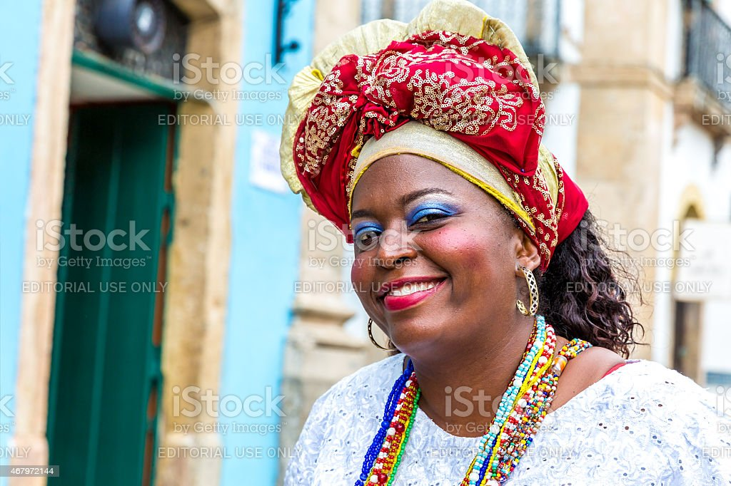 Brazilian woman of African descent, wearing traditional clothes stock photo
