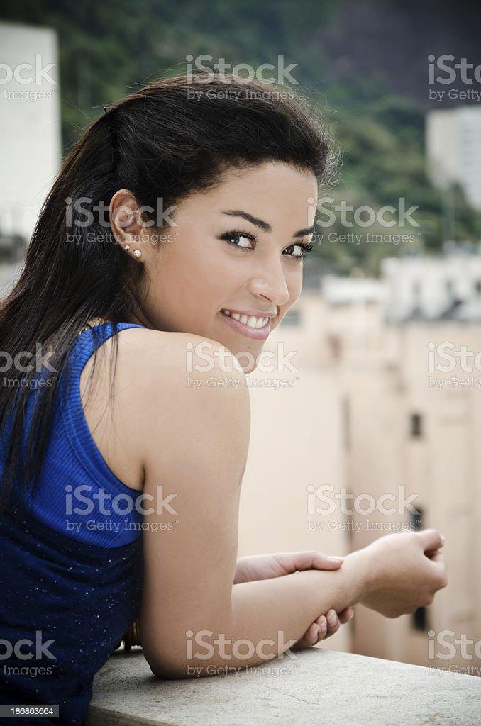 Brazilian woman on balcony royalty-free stock photo