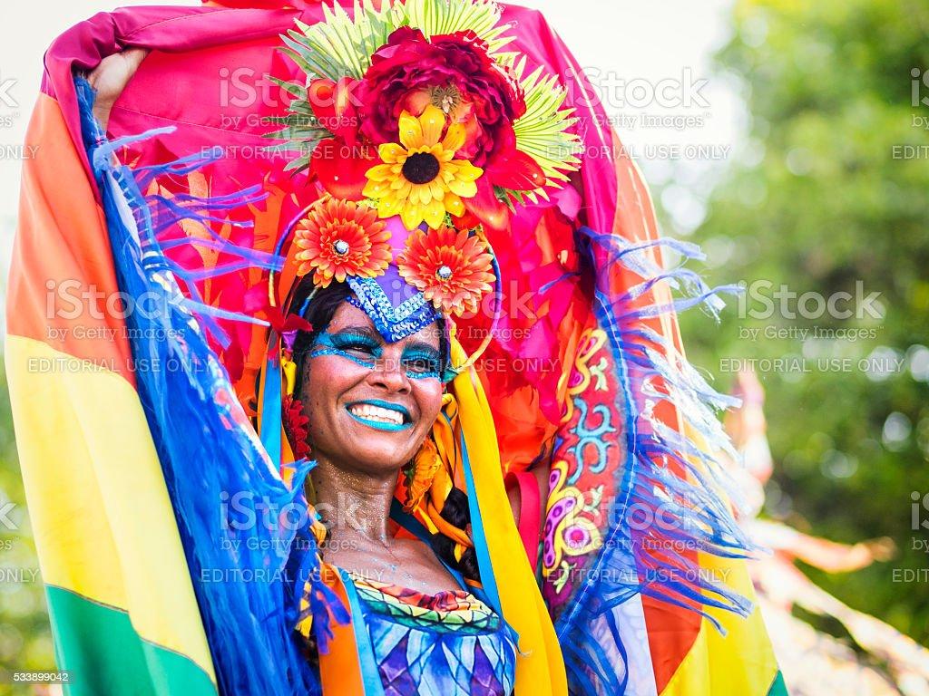 Brazilian Woman Wearing Colorful Carnival Costme, Rio de Janeiro, Brazil stock photo