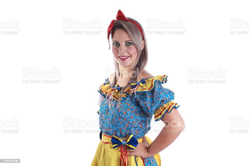 Brazilian woman wearing typical clothes for the Festa Junina stock photo