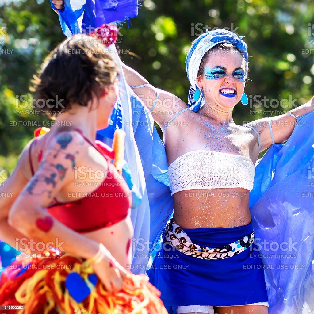 Brazilian Women Dancing at Carnaval Parade, Rio de Janeiro, Brazil stock photo