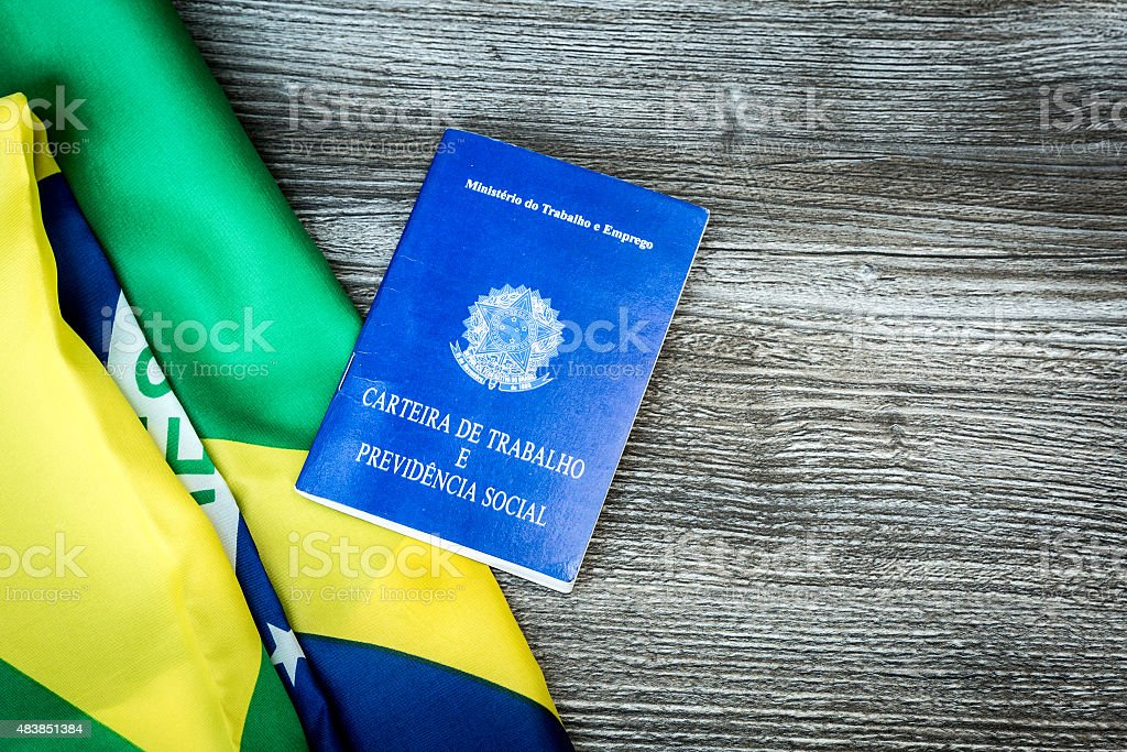 Brazilian work document and social security document on the table stock photo