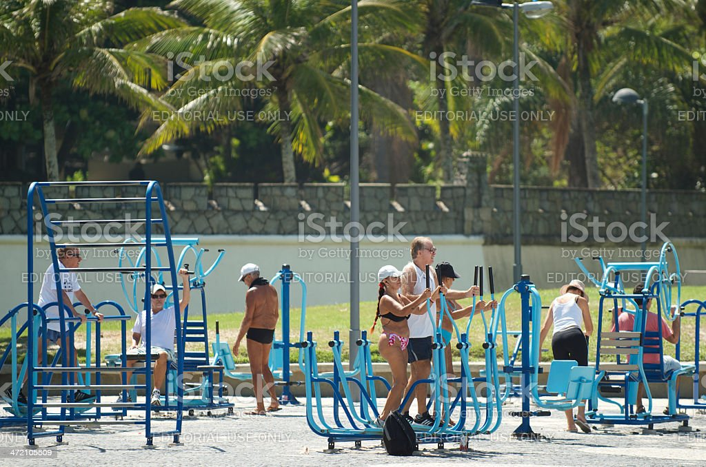 Brazilians Exercising Outdoor Fitness Station Rio royalty-free stock photo