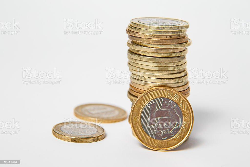 Brazillian Real, coins stock photo
