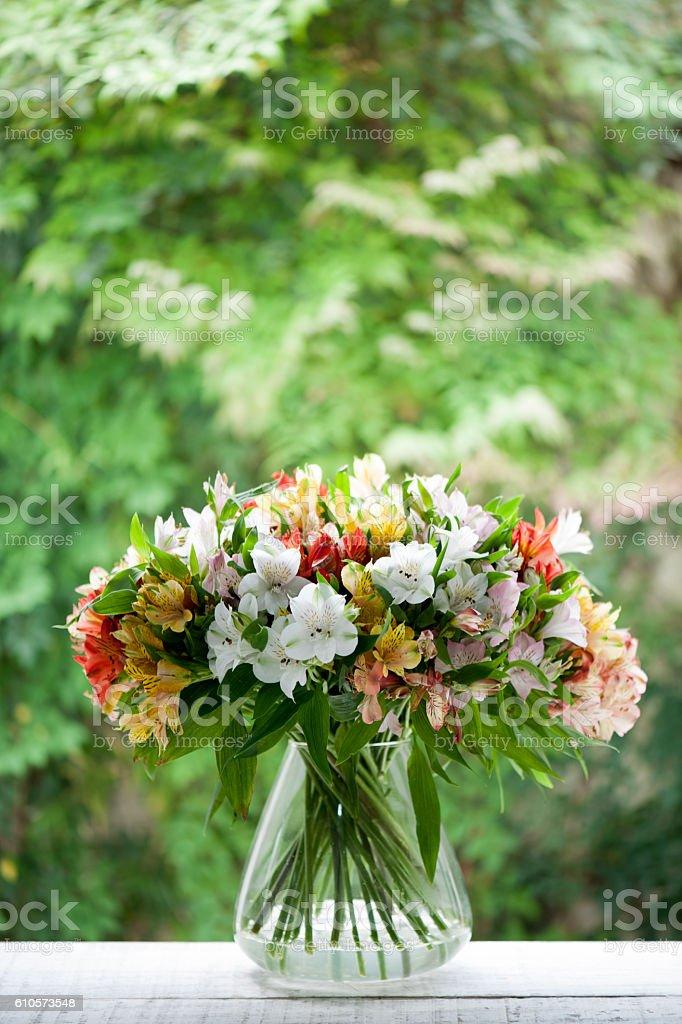 Brazlian lily flowers or alstroemeria flowers. stock photo