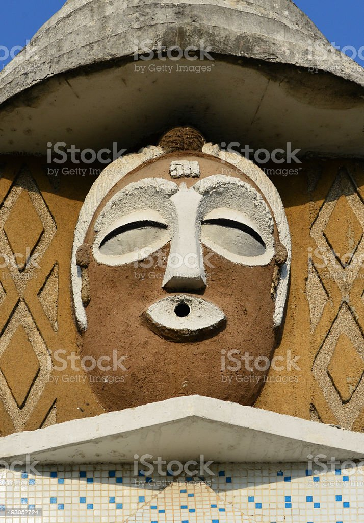 Brazzaville, Congo: masks round-about stock photo