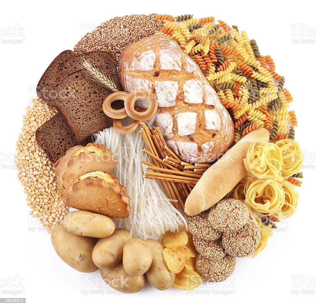 Bread and bakery products in the form of a circle. stock photo