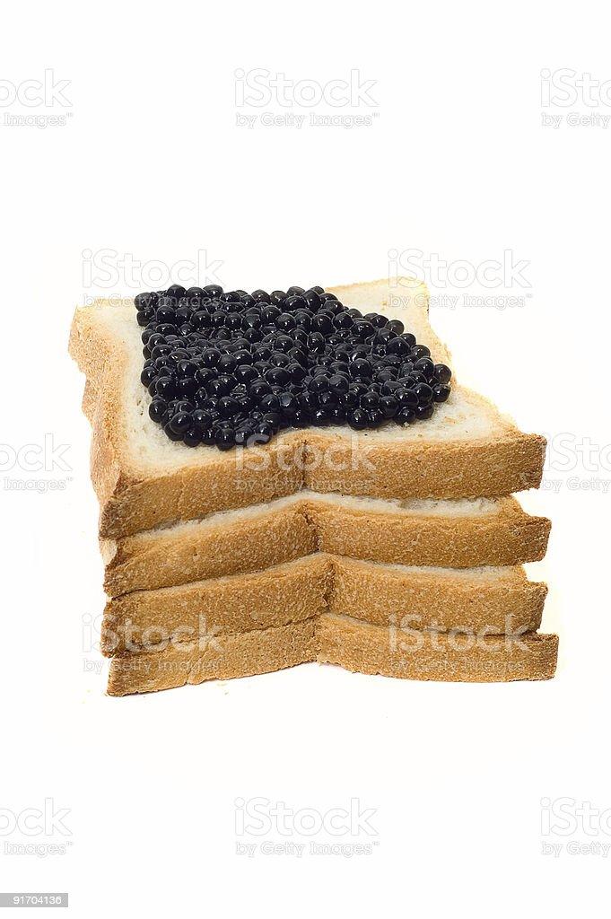 Pain et de caviar noir photo libre de droits