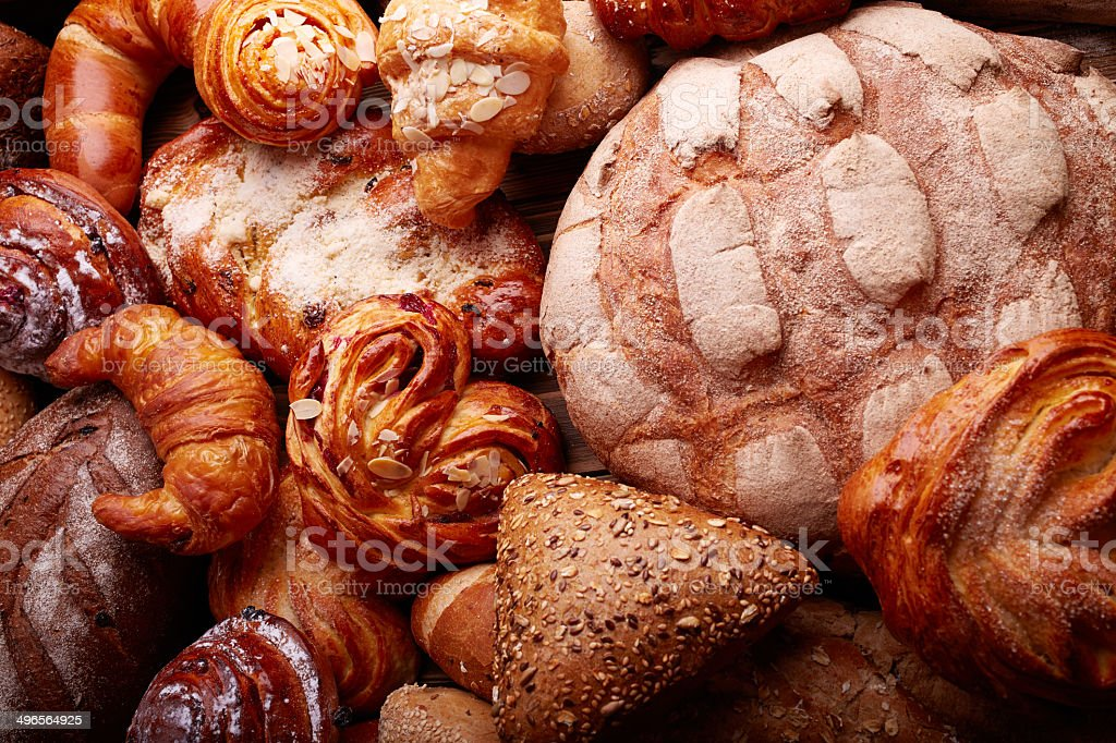 Bread and buns stock photo