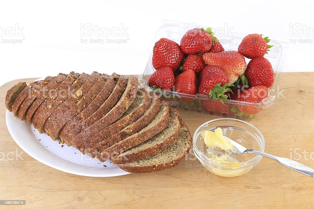 Bread and Butter with Fruit stock photo