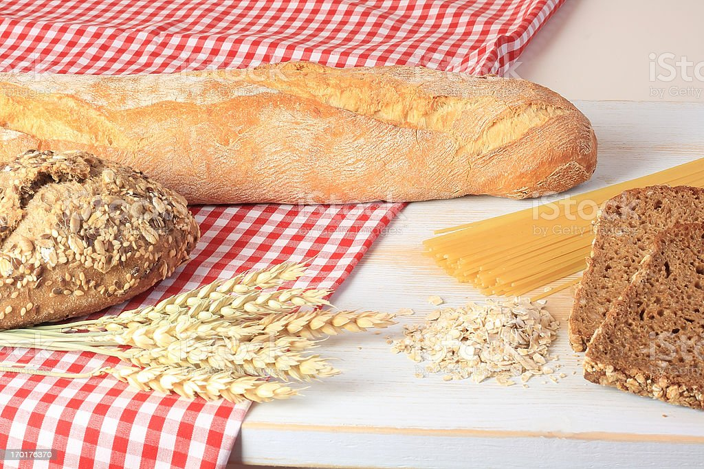 bread and cereal products stock photo