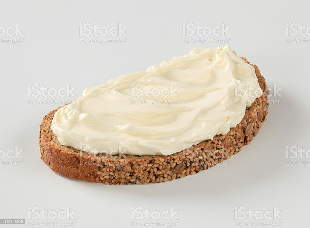 Bread and cheese spread stock photo