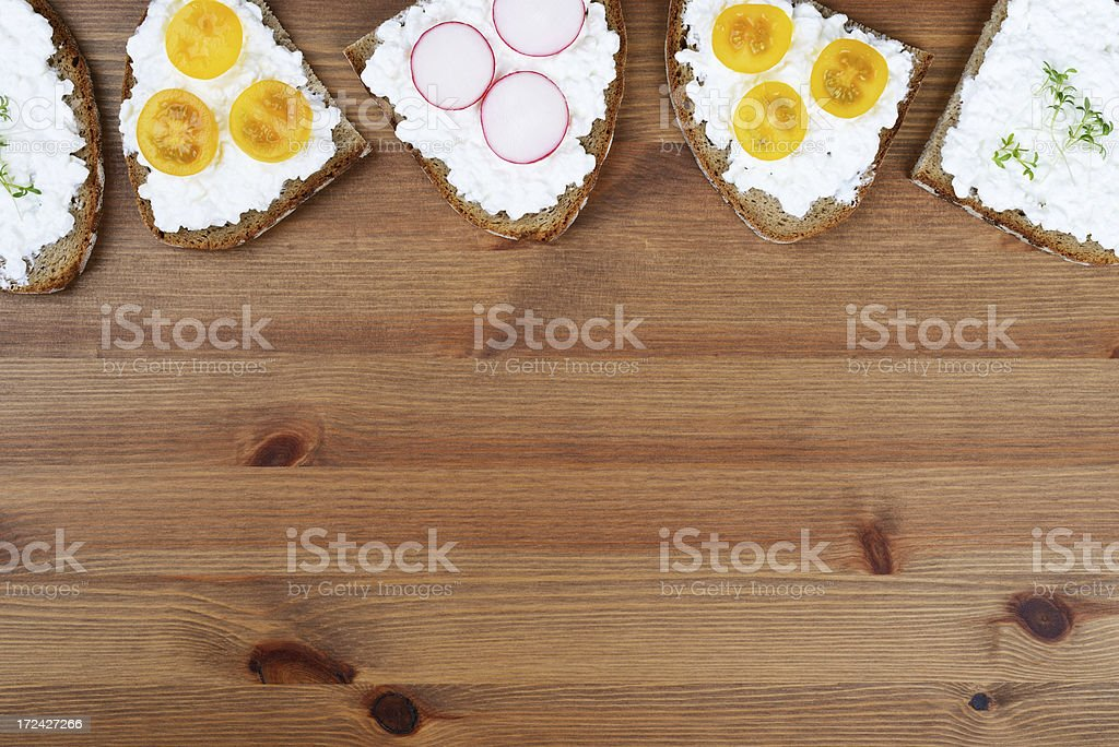 Bread and cottage cheese royalty-free stock photo