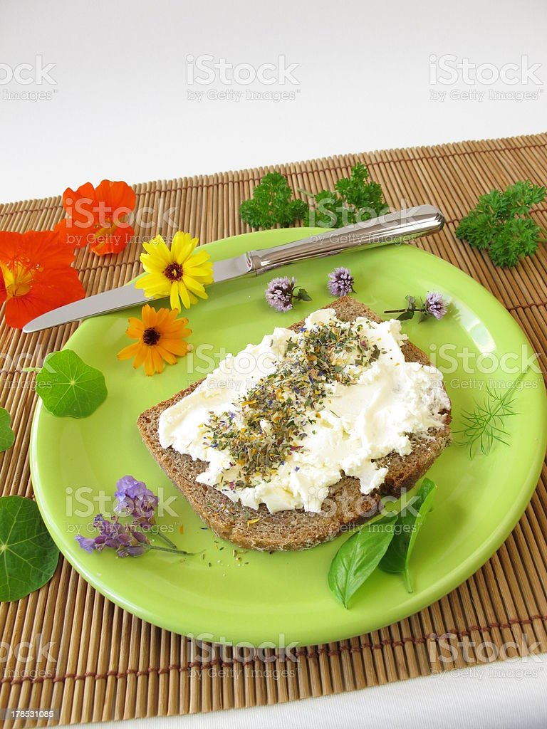 Bread and curd with spices flowers salt royalty-free stock photo