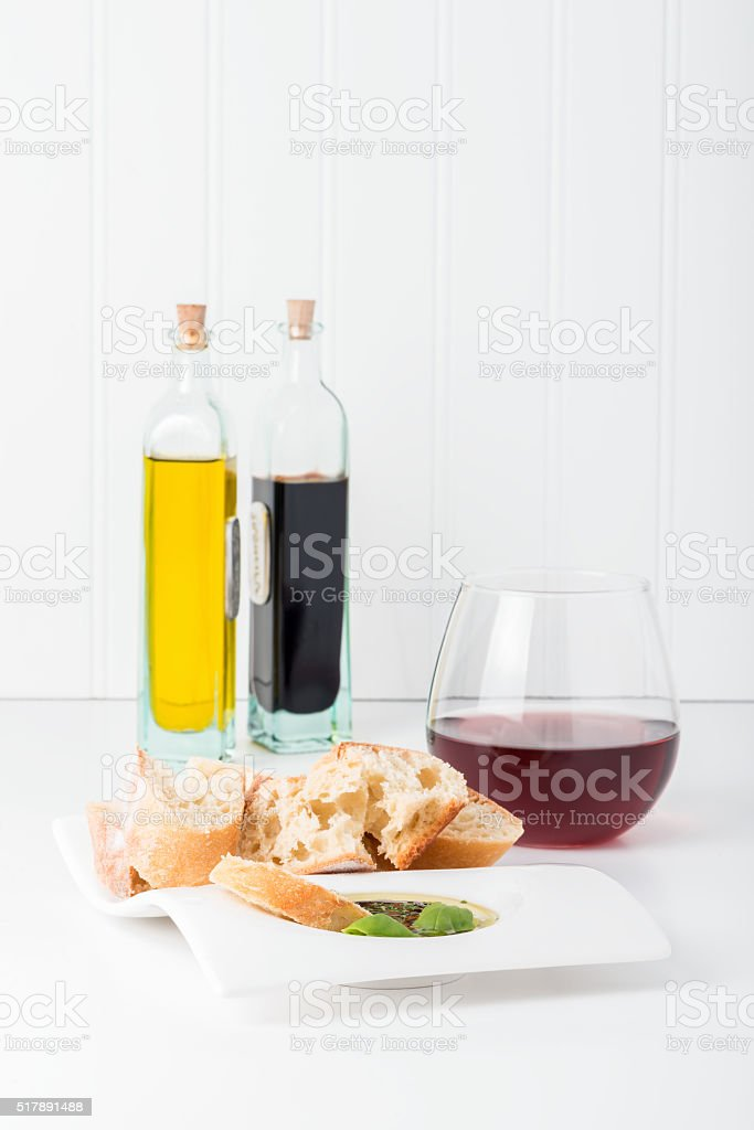 Bread and Dipping Sauce stock photo