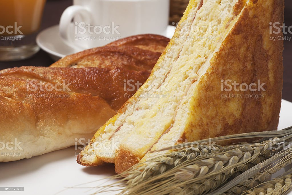 Bread and drink royalty-free stock photo