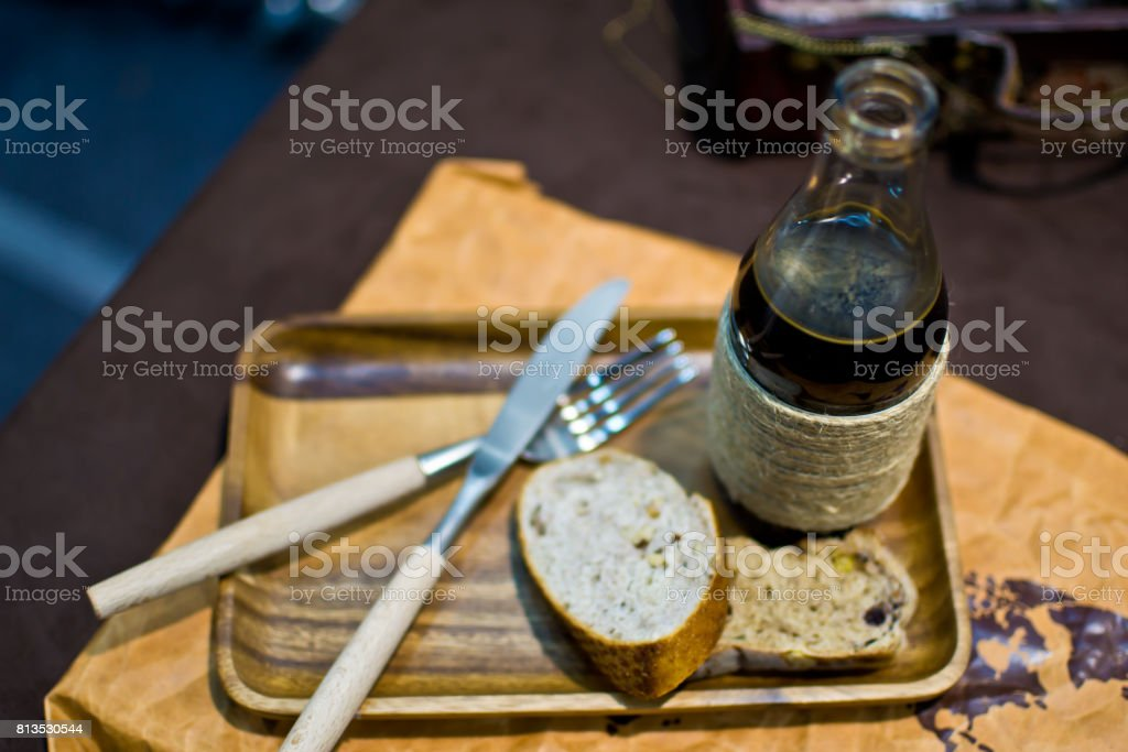 Bread and drinks stock photo