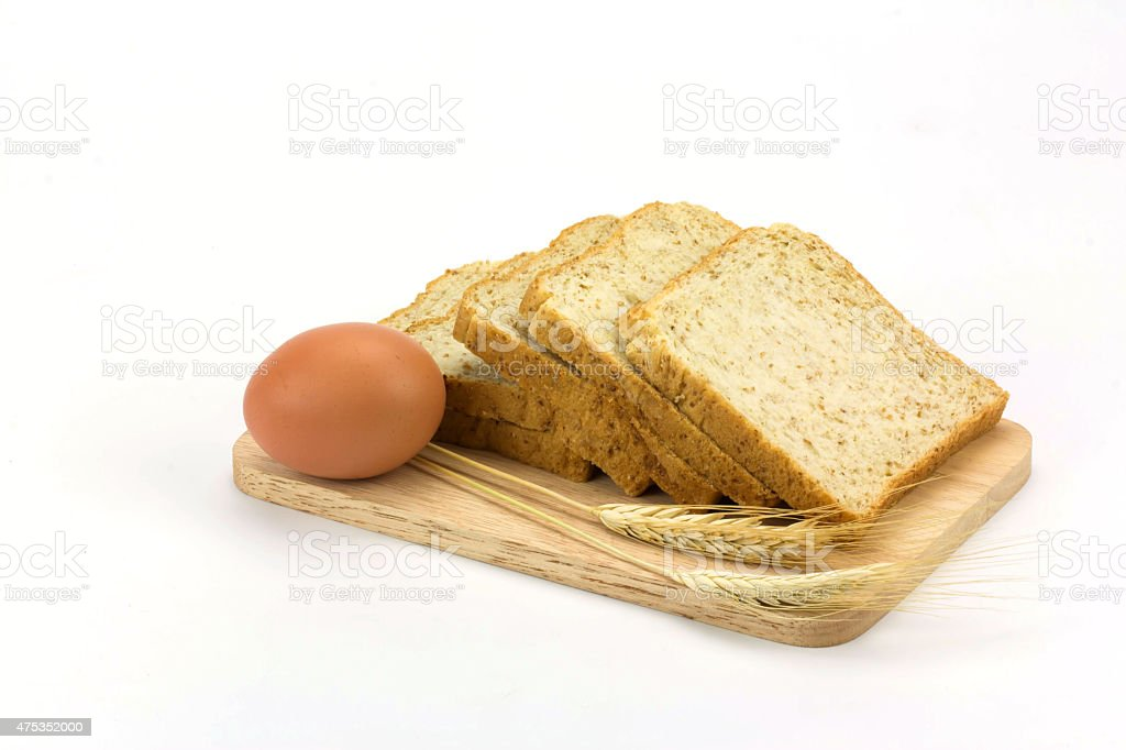 bread and egg isolated on white background royalty-free stock photo
