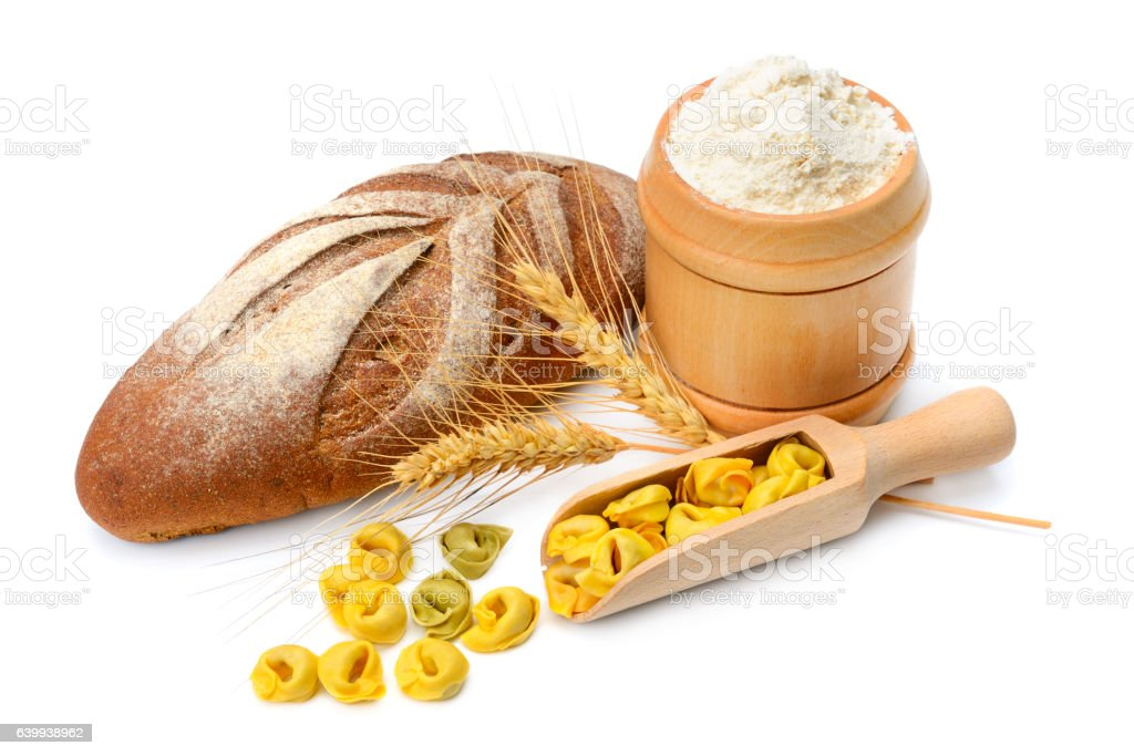bread and flour products  on white background stock photo