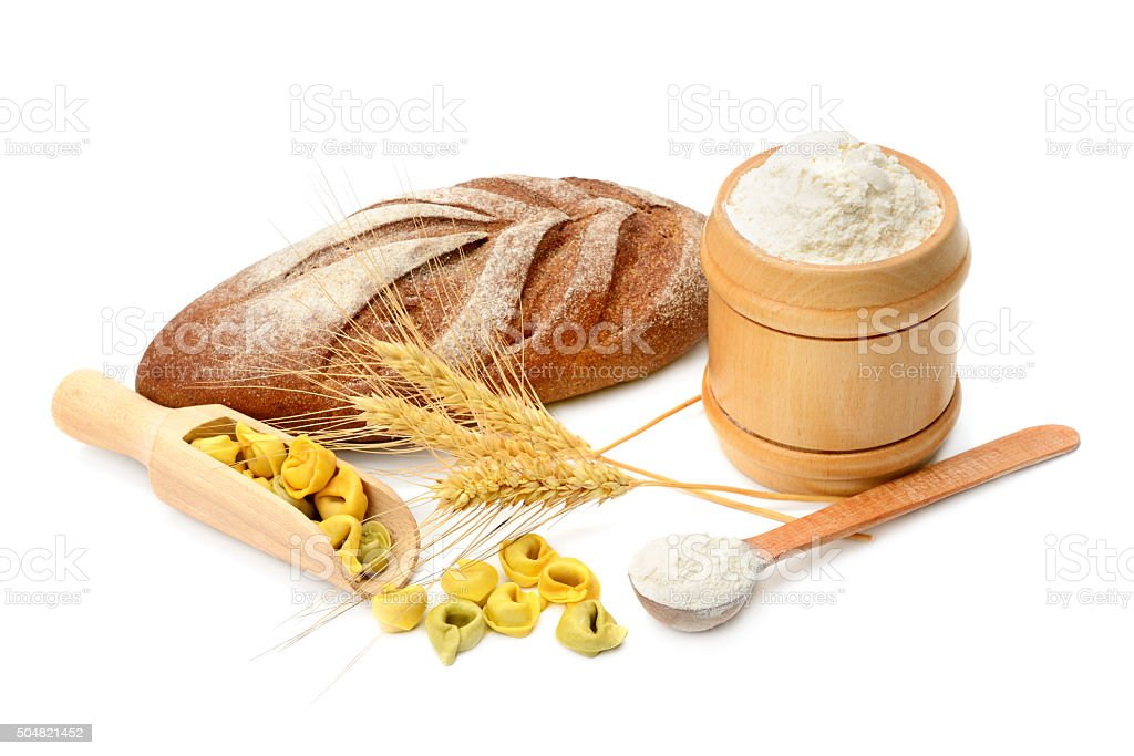 bread and flour products stock photo