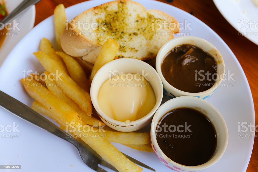 Bread and French Fries stock photo