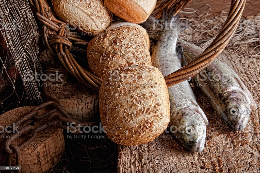 Bread and fresh fish stock photo