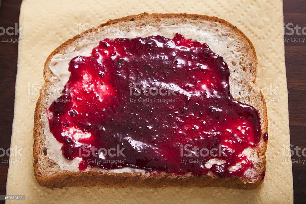 bread and jam on napkin royalty-free stock photo