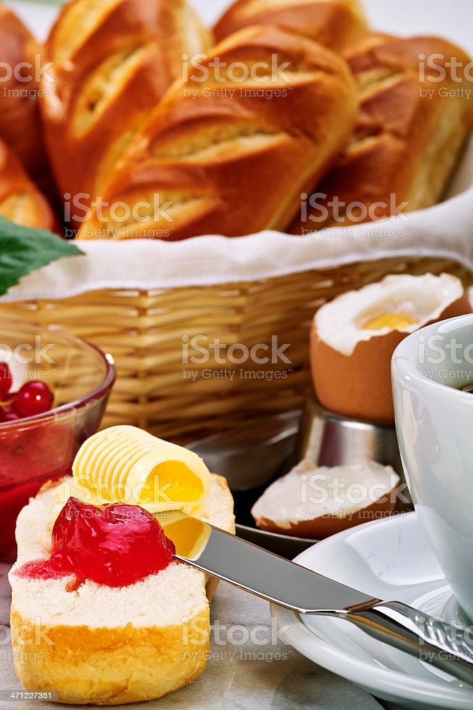 Bread and Jam-Fruehstueck royalty-free stock photo