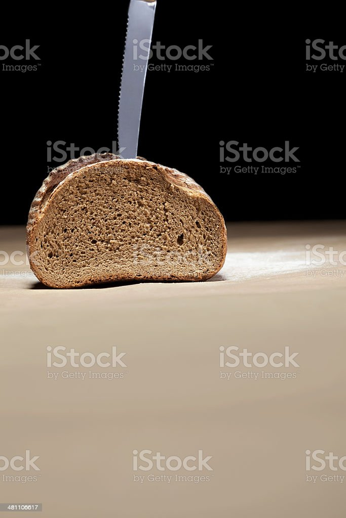 Bread and knife royalty-free stock photo