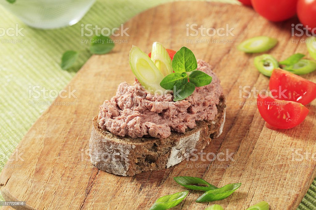 Bread and meat spread stock photo